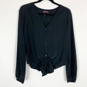 Hale Bob Silk Blouse Small Black Tie Button front